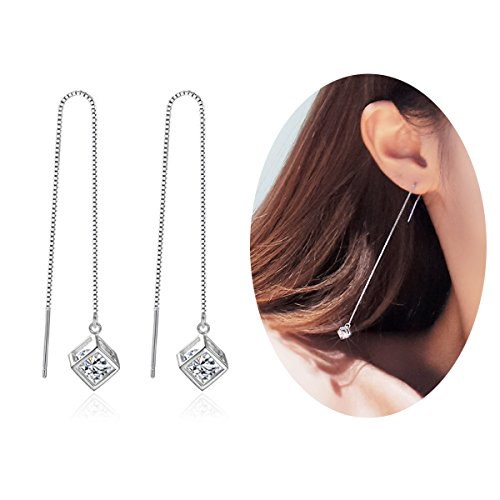 Aifeer Sterling Silver Threader Earring, Long Dangle Earrings with 3D Sparkling Cubic Zirconia CZ Drop A ()