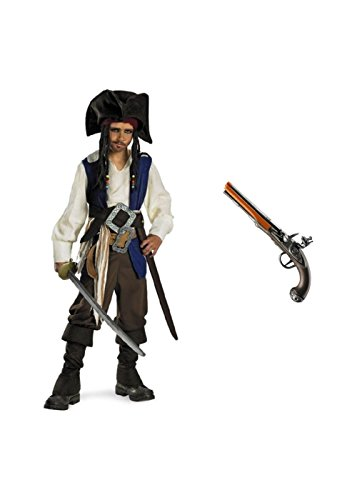 Big Boys Jack Sparrow Pirate Costume and Pistol Toy Set (Jack Sparrow Boys Costume)