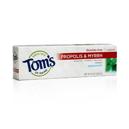 Tom's of Maine 683078 Fluoride-Free Natural Toothpaste with Propolis and Myrrh, Peppermint Baking Soda, 5.5 Ounce, 24 Count