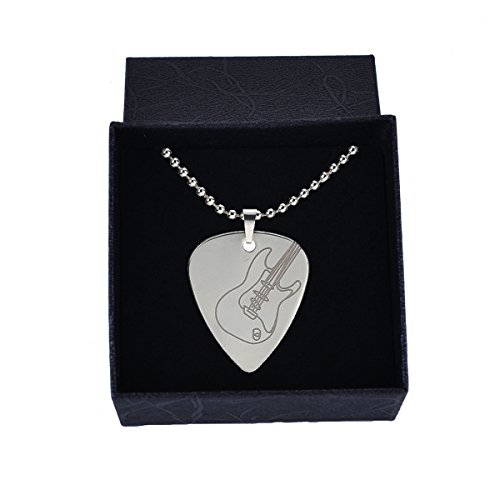 (Sound harbor MA-49 Silver Stainless Steel Guitar Pick Necklace Pick Pendant plectrum(Guitar image))