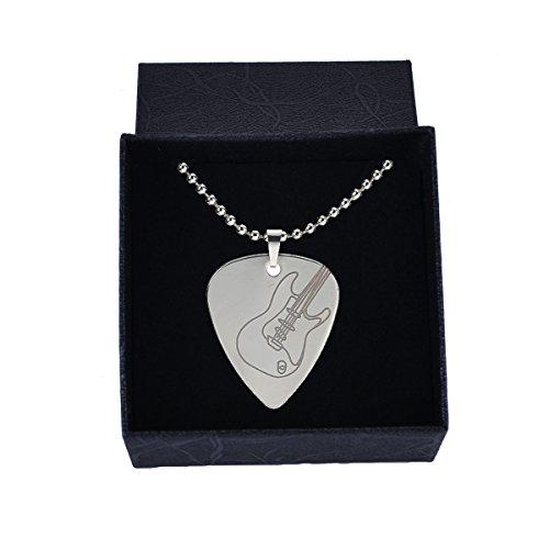 Sound harbor MA-49 Silver Stainless Steel Guitar Pick Necklace Pick Pendant plectrumGuitar image