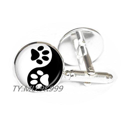 Yao0dianxku Yin Yang CuffLinks Pet Paw Print Cuff Links Handprint Art CuffLinks Tai Ji Jewelry for Animal Lover Pet Lover Cat Dog Birthday.Y061 (Handprint Halloween Cat)