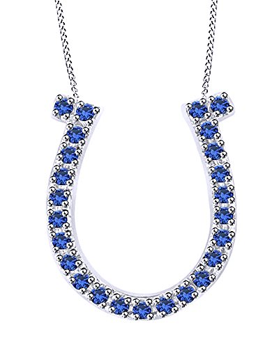 (Jewel Zone US 0.23 Ct Simulated Blue Sapphire Horseshoe Pendant Necklace in 10K Solid White Gold)