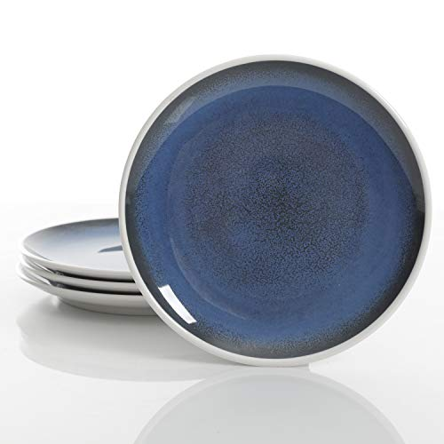 Gibson Overseas, Inc. 82212.04R Cobalt Bay Heavyweight, dinnerware Set, Gibson Melamine dinnereware, Plates, 4Pk Dinner, White Blue (Set Cobalt Dinner Blue)