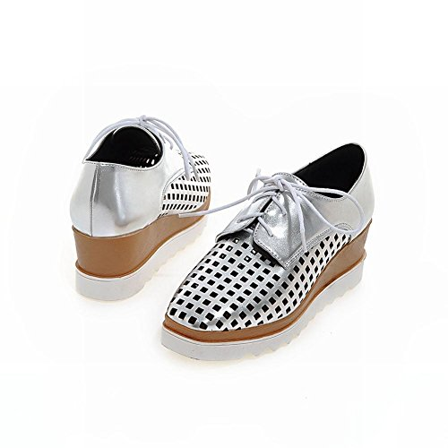 Latasa Summer Square Oxfords Silver Toe Women's Wedges 0qH0z