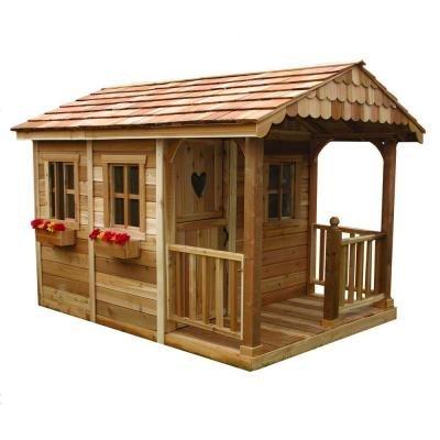 Children Playhouse Tree Cedar Kid Outdoor Garden Backyard Cottage Fort Log ()