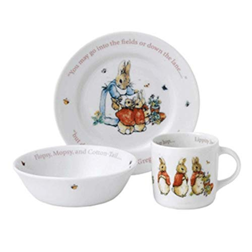 Wedgwood Girl's Peter Rabbit 3-Piece Plate, Bowl and Mug Set, White and Pink ()