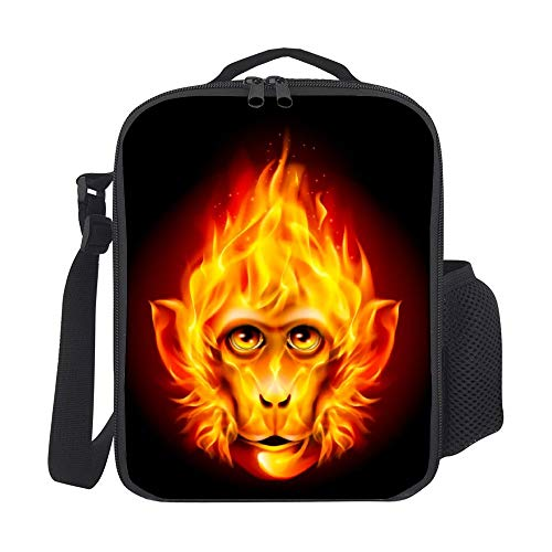 SARA NELL Kids Lunch Backpack Insulated Redhead Fire Monkey Lunch Bag Large Lunch Boxes Cooler Meal Prep Lunch Tote With Shoulder Strap For Boys Girls Teens Women Adults