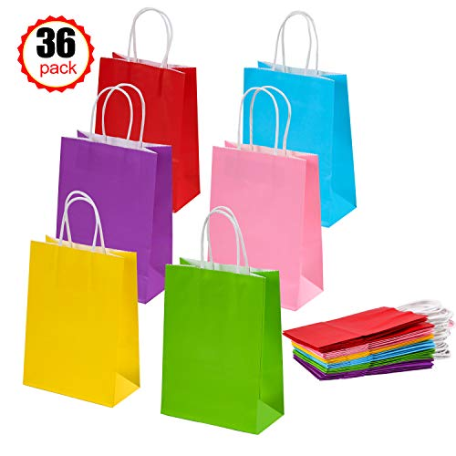 36 Pieces Kraft Paper Bags Party Favor Bags Gift Bags with Handles for Birthday Wedding Halloween Party-6 Color -