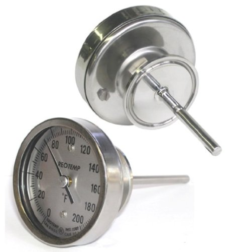 REOTEMP AA025CF43 Stainless Steel 3A Sanitary Bi Metal Thermometer, 2-1/2'' Stem, 3'' Dial, 0 to 200 Degrees F, Back Mount by REOTEMP