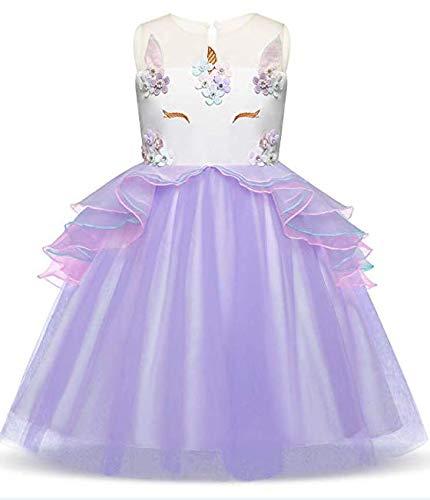 Toddler Flower Girl Unicorn Costume Dress Ruffles Party Wedding Princess Dress -