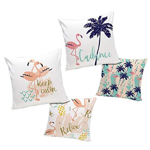 (ETZON Set of 2 Standard Size Pretty Palm Tree Flamingo Throw Pillow Covers Home Decor Decorative Cushion Cover Throw Pillowcase 18
