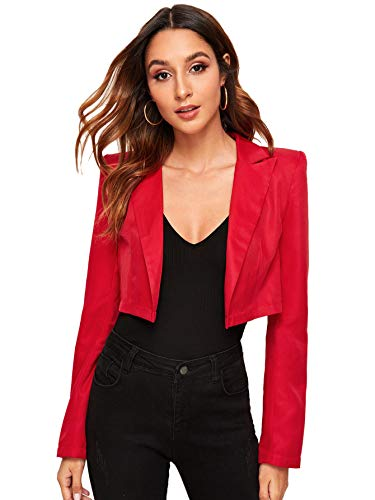 Milumia Women's Casual Cropped Notched Collar Long Sleeve Work Blazer Jacket Outwear