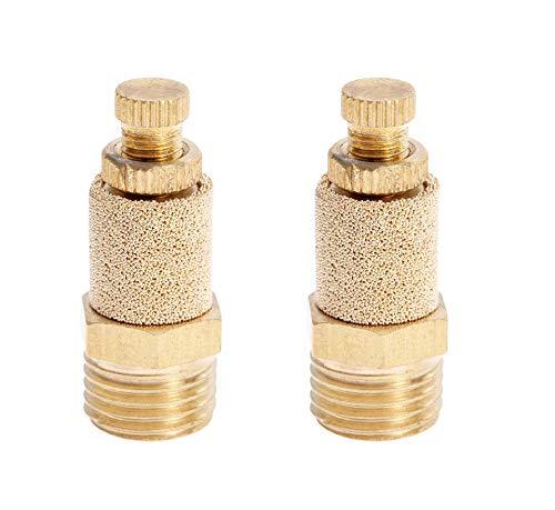 Karcy 2pcs 1/8 Thread Pneumatic Silencer Muffler Fitting Air Flow Speed Controller Brass
