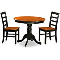 East West Furniture ANPF3-BLK-W 3 Piece with 2 Wooden Chairs Antique Dining Set, Black Finish