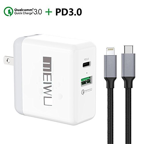 USB Type-C Power Delivery 27.6W Foldable Plug Wall Charger with Fast Charge Cable for Apple iPhone,iPad,iPod,18W USB Quick Charger for Samsung Galaxy S7,Google Pixel 2 XL,Nexus6P,LG G6,Moto Z and more