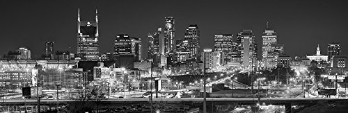 Nashville Skyline PHOTO PRINT UNFRAMED NIGHT Black and White BW Downtown City 11.75 inches x 36 inches Photographic Panorama Poster Picture Standard Size