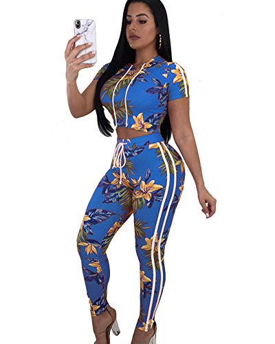 - Women's Long Sleeve 2 Pieces Outfit Geometric Print Top and Long Pants Bodycon Jumpsuits Set