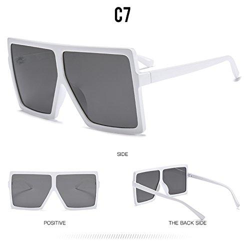 Unas mujer degradado mujer enormes de hombres C6 tan gafas UV400 C7 de Gafas plazas tonos Sunglasses sol sol Lentes TL 54OqFz6wn