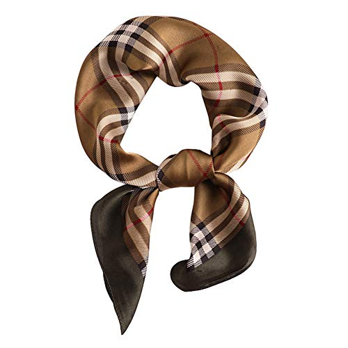27.6'' Pattern Silk Feeling Square Scarf Silky Neck Hair Scarf Wrap Headscarf Neckerchief for Women Girls Ladies Mother's Day Gifts (17#Classic plaid)