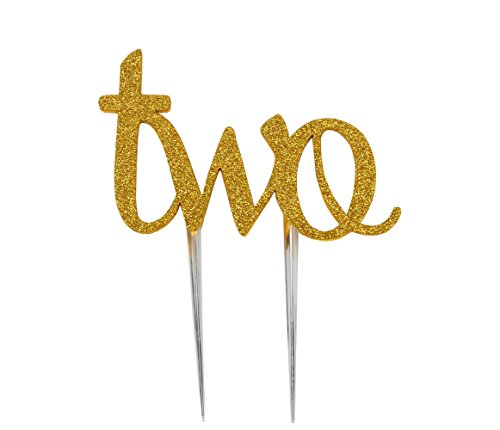 LOVELY BITON(TM) Two Birthday Cake Topper Decoration Single Sided Double Gold Glitter (2 Topper)