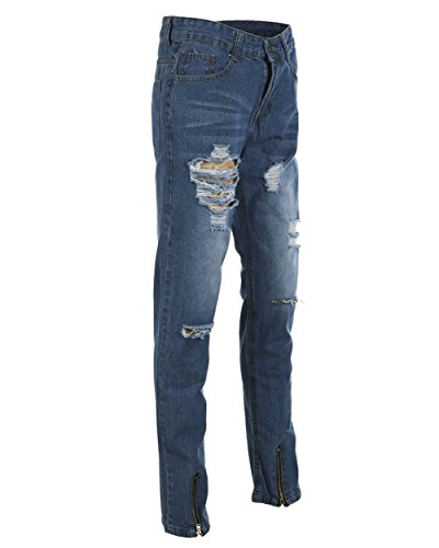cbc7c05f27af XARAZA Men s Stretchy Ripped Skinny Biker Jeans Taped Slim Fit Denim Pants  at Amazon Men s Clothing store