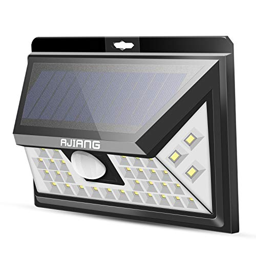 Ajiang Solar Lights Outdoor,Wireless 40 LED Motion Sensor Solar Lights with Wide Lighting Area,Easy Install Waterproof Security Lights for Back Yard,Driveway,Garage,Front Door and More