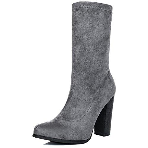 Spylovebuy Tabitha Femmes à Talon Bloc Bottines Chaussures Gris - Simili Daim
