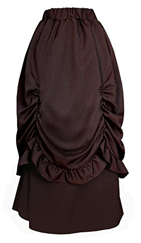 (Victorian Steampunk Gothic Theater Bustle Long Skirt (Brown))