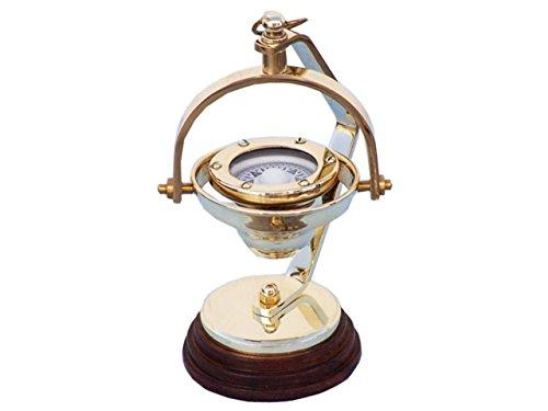 (Hampton Nautical 3xglass-101 Solid Brass Hanging Compass 8