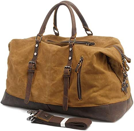 Leather Travel Duffel Bag for men Gym Sports Weekender Luggage Carry on Airplane Leather Bag