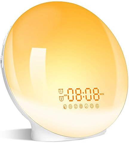Luz despertador, Wake Up Light LED Despertador Simulación de Amanecer y Atardece, 2 Alarmas, Función Snooze, 20 Brillo, 8 Sonidos, Radio FM, Reloj Despertador Luz de noche Con 1 USB, Adaptador, Cable