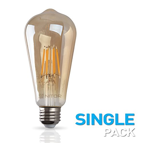 NITOR Lighting Edison Style Vintage LED Light Bulbs, DIMMABLE Filament Bulb, 6W (60W Incandescent Replacement), 2200K (Amber Colour), Antique Style, Amber Tinted Lens, E26 Medium - Lenses Amber Color