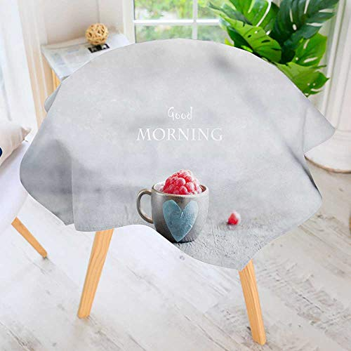 PRUNUS Spillproof Polyester Fabric Round Tablecloth-Coffee Mug with Raspberries and Notes Good Morn Breakfast Elegant Printed Table Cloth 40