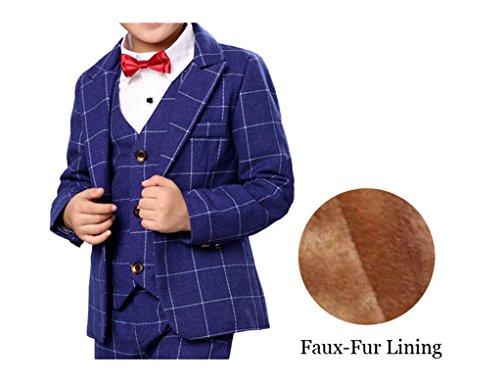 (Boys Plaid Gray Blue Red Suit Set with Grid 3 Pieces Jacket Vest Pants Set (10, Blue(Faux-Fur)