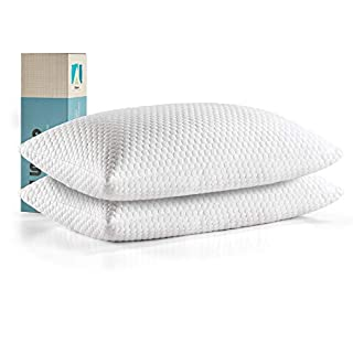 lunaoo Premium Shredded Memory Foam Pillows (2 Pack) for Sleeping with Bamboo Washable Cover Adjustable Thickness Bed Pillows Neck Support for Back, Stomach, Side Sleepers