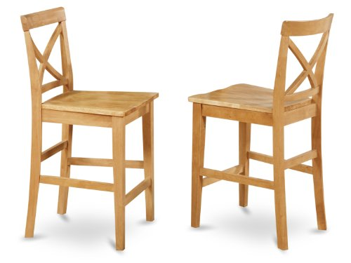 East West Furniture PBS-OAK-W X-Back Stool Set with Wood Counter Seat, Oak Finish, Set of 2