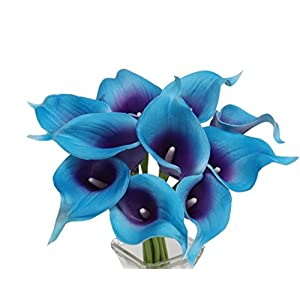 Angel Isabella, LLC 20pc Set of Keepsake Artificial Real Touch Calla Lily with Small Bloom Perfect for Making Bouquet, Boutonniere,Corsage (Turquoise Trim Purple Center) 96