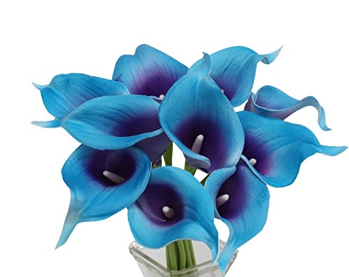 Angel Isabella, LLC 20pc Set of Keepsake Artificial Real Touch Calla Lily with Small Bloom Perfect for Making Bouquet, Boutonniere,Corsage (Turquoise Trim Purple Center)