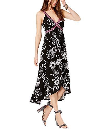 Concepts Women's Petite Printed Faux-Wrap Maxi Dress (Black Polished Floral, PM) ()