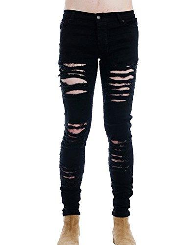 Distrutto Nero Skinny Denim Slim Uomo Jeans Strappati Fit Pantaloni Elasticizzati pvqT7