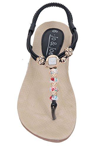 Sapphire Boutique Mujer Elástico Correa CON BOLITAS Acolchada TANGA Separador del Dedo Del Pie Zapato Plano Sandalias Azul Marino