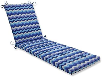 Pillow Perfect Outdoor Indoor Panama Wave Azure Chaise Lounge Cushion 80x23x3,Blue