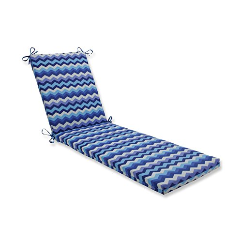 Pillow Perfect Outdoor/Indoor Panama Wave Azure Chaise Lounge Cushion 80x23x3