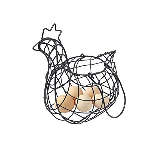 "Metal Wire Farmhouse Chicken Egg Storage Basket with Handles (11""x6""x9"") (Black)"