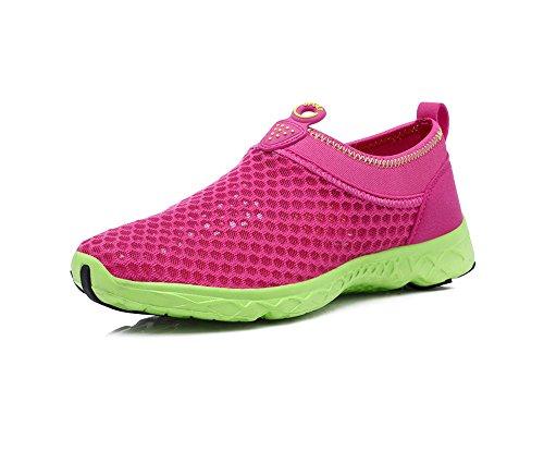 YIRUIYA Frauen Mesh Athletic Walking Sneakers Wasser Schuhe Rot + Grün