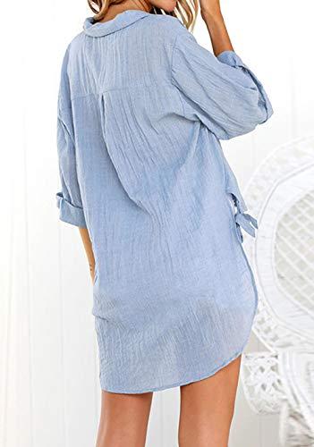 Printemps Shirts Blouses Revers Casual Femmes Longue et Manches Chemises Bleu Longues Tops Tunique Irregulier Mode Automne Hauts Chemisiers znRrzvq