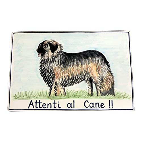 CERAMICHE D'ARTE PARRINI - Italian Ceramic Art Pottery Tile Custom Beware of the Dog Hand Painted Made in ITALY Tuscan