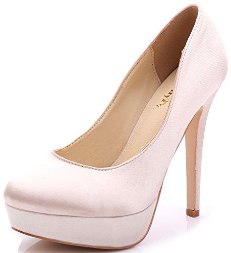 YooPrettyz Women Round Toe Wedding Shoes Platform Satin S...
