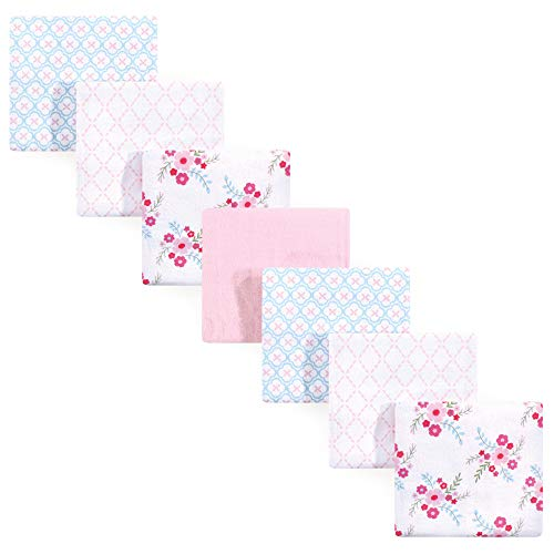 Luvable Friends 7 Piece Flannel Receiving Blanket, Floral, One Size